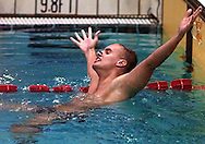1996 Summer Olympics, Atlanta, GA---Attila Czene of Hungary reacts to setting Olympic record in 200 m IM.