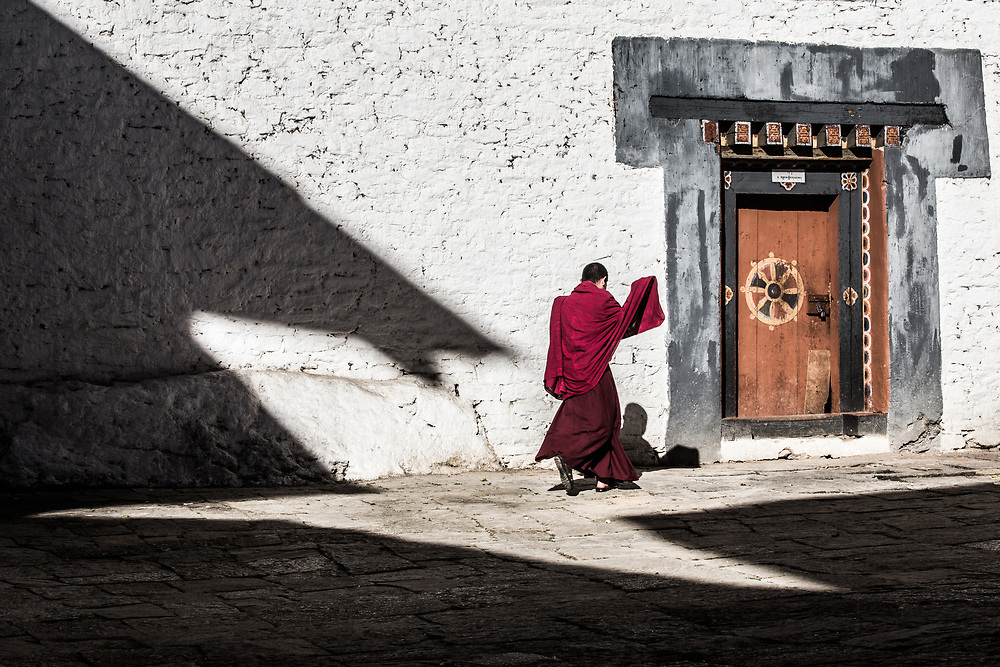 A monk at the Trpngsa fortress, Bhutan