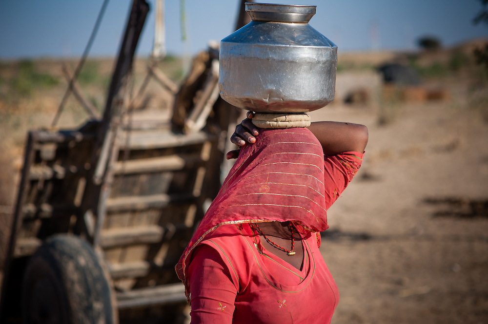 Indian woman covering her face (purdah) with sari and carrying jar on her head (India)