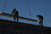 November 12, 2013. Long Island, New York. Metro Iron workers tackle a new job on Long Island. 11/12/13. Photo by Danielle Valente/NYCity Photo Wire