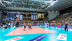 17.04.2019, Olympiahalle Innsbruck, Innsbruck, AUT, VBL, Deutsche Volleyball Bundesliga, HYPO Tirol Alpenvolleys Haching vs Berlin Recycling Volleys, Halbfinale, 3. Spiel, im Bild Uebersicht // during the German Volleyball Bundesliga (VBL) 3rd semifinal match between HYPO Tirol Alpenvolleys Haching and Berlin Recycling Volleys at the Olympiahalle Innsbruck in Innsbruck, Austria on 2019/04/17. EXPA Pictures © 2019, PhotoCredit: EXPA/ JFK