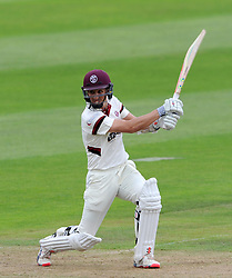 Somerset's Tom Cooper cuts the ball. - Photo mandatory by-line: Harry Trump/JMP - Mobile: 07966 386802 - 21/08/15 - SPORT - CRICKET - LV County Championship Division One - Day One - Somerset v Worcestershire - The County Ground, Taunton, England.