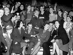 "Embargoed to 2100 Friday May 08 File photo dated 08/05/45 of celebrations on VE (Victory in Europe) Day in 1945. As the Queen spoke of the jubilant celebrations which ""some of us experienced first-hand"", she was no doubt thinking back to her own VE Day adventures."
