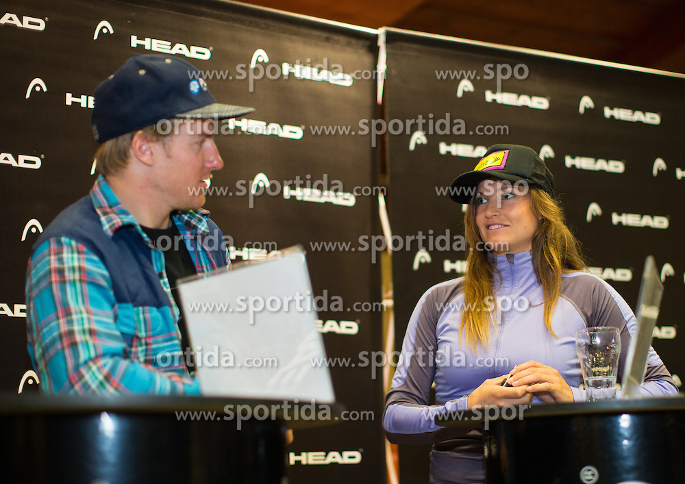 24.10.2013, Freizeit Arena, Soelden, AUT, FIS Weltcup, Ski Alpin, HEAD Pressekonferenz, im Bild Ted Ligety and Julia Mancuso (USA) // Ted Ligety and Julia Mancuso of the USA during press conference of HEAD prior to the FIS Ski Alpine Worldcup opening at Freizeitarena, Soelden, Austria on 2012/10/24. EXPA Pictures © 2013, PhotoCredit: EXPA/ Johann Groder