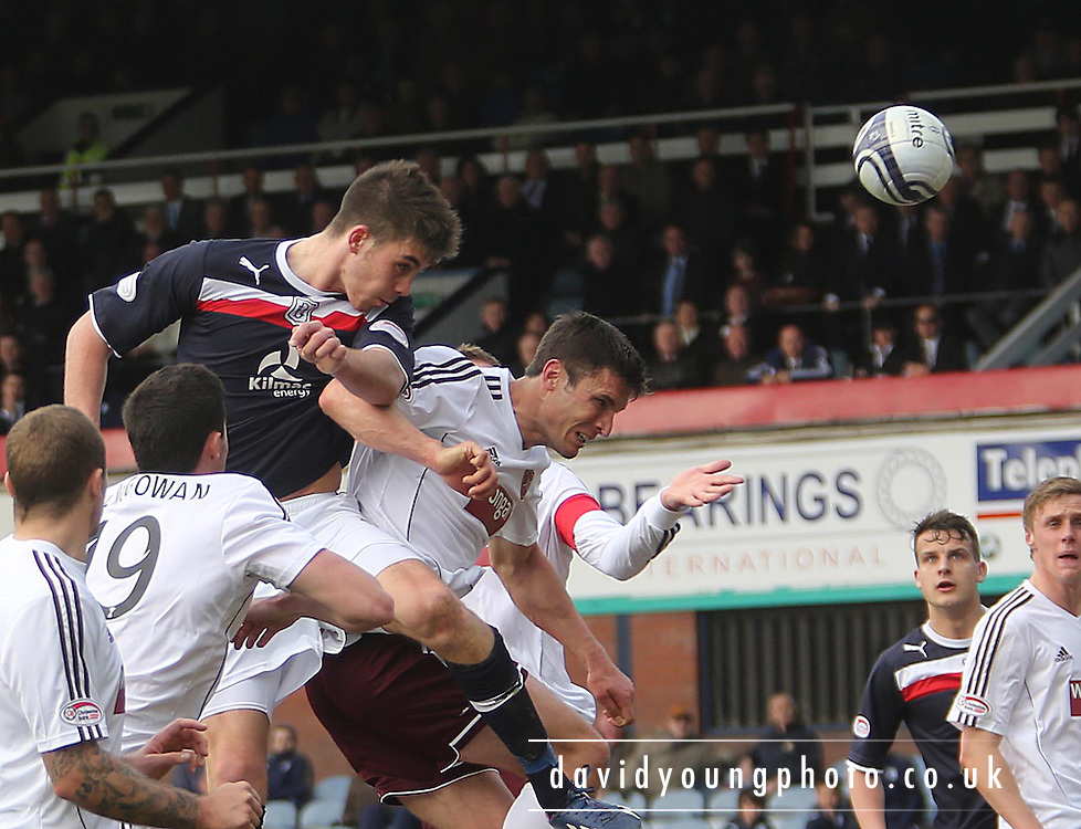 Declan Gallagher and John Sutton - Dundee v Heart of Midlothian - Clydesdale Bank Scottish Premier League at Dens Park .. - © David Young - www.davidyoungphoto.co.uk - email: davidyoungphoto@gmail.com