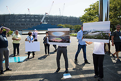 September 5, 2018 - Tokyo, JAPAN - 180905 Staff showcase how the Olympic Stadium, arena to be used for athletics, football and the Opening Ceremony and Closing Ceremony, will look like after construction, during the first World Press Briefing for the 2020 Olympic Games on September 5, 2018 in Tokyo..Photo: Joel Marklund / BILDBYRN / kod JM / 87776 (Credit Image: © Joel Marklund/Bildbyran via ZUMA Press)