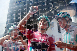 Leah Thomas (USA) signs on at Stage 2 of 2019 Giro Rosa Iccrea, an 78.3 km road race starting and finishing in Viù, Italy on July 6, 2019. Photo by Sean Robinson/velofocus.com