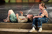 To Kill a Mockingbird <br /> by Harper Lee <br /> at The Barbican Theatre, London, Great Britain <br /> rehearsal <br /> 25th June 2015 <br /> <br /> Ava Potter as Scout <br /> <br /> Connor Brundish as Dill<br /> <br /> Photograph by Elliott Franks <br /> Image licensed to Elliott Franks Photography Services