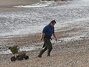 Man collecting worms, Pett Level beach, 20 October 2016