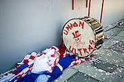 A drum and banners sit amongst confetti after the final game of the Chivas USA franchise had come to an end at the StubHub Center in Carson, Calif., on Oct. 26, 2014. Chivas USA defeated the San Jose Earthquakes 1-0.