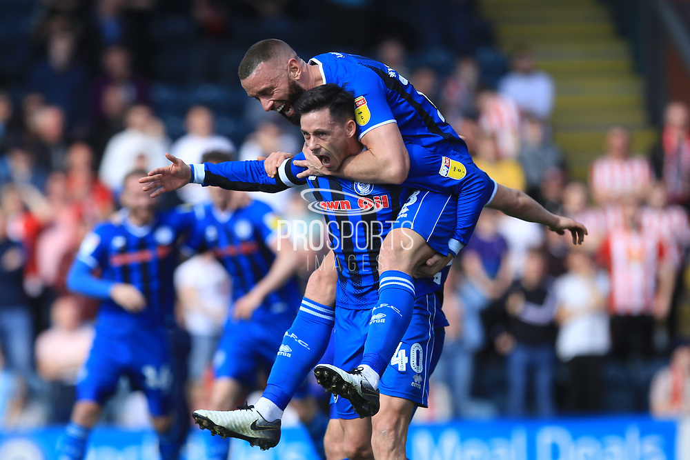 GOAL Ian Henderson starts to celebrate the opening goal 1-0 during the EFL Sky Bet League 1 match between Rochdale and Sunderland at Spotland, Rochdale, England on 6 April 2019.