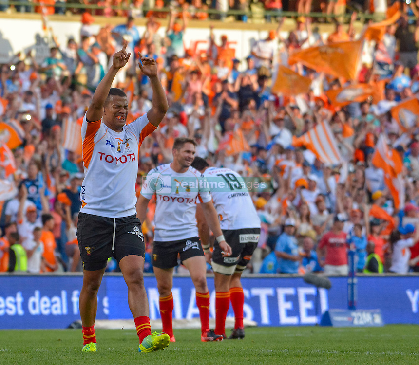 Clayton Blommetjies of the Free State Cheetahs celebrating during the Currie Cup Final between the The Free State Cheetahs and Blue Bulls held at Toyota Stadium (Free State Stadium), Bloemfontein, South Africa on the 22nd October 2016<br /> <br /> Photo by:   Frikkie Kapp / Real Time Images