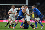 Twickenham, Great Britain, Jules PLISSON held up by Luther BURRELL during the Six Nations Rugby England vs France, played at the RFU Stadium, Twickenham, ENGLAND. <br /> <br /> Saturday   21/03/2015<br /> <br /> [Mandatory Credit; Peter Spurrier/Intersport-images]