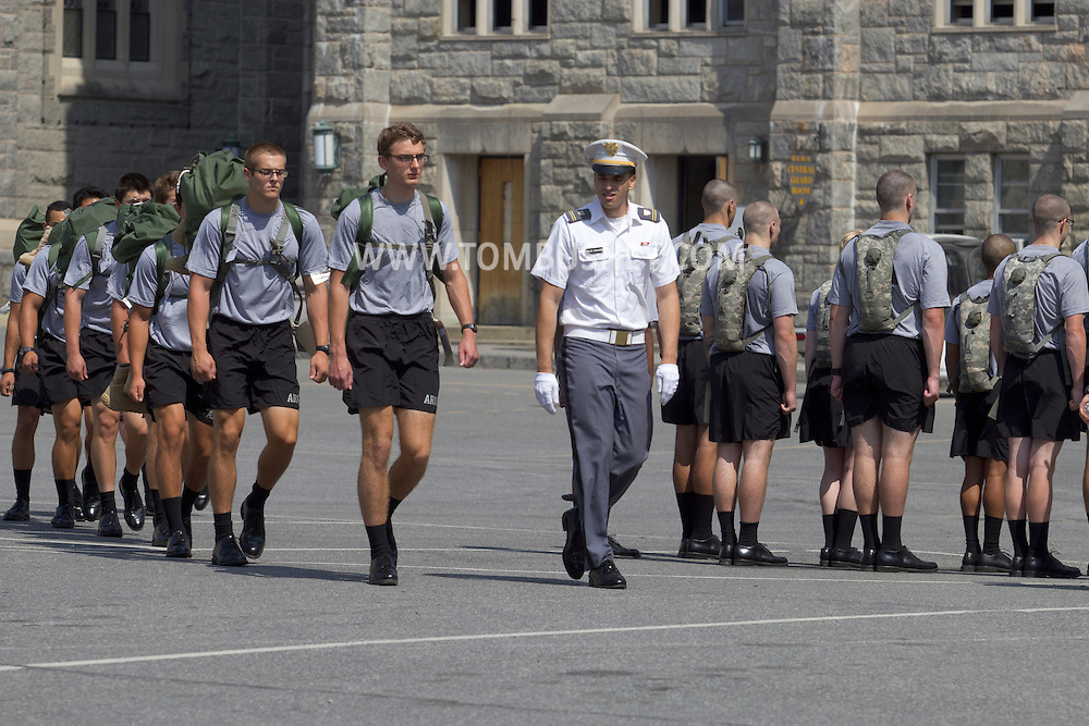 West Point, New York - Cadet candidates march across the central area at the United States Military Academy at West Point for Reception Day on July 2, 2014. About 1,200 cadet candidates, the West Point Class of 2018, reported to the academy to begin their military careers.