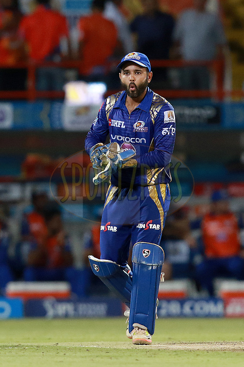 Parthiv Patel of MI during match 35 of the Vivo 2017 Indian Premier League between the Gujarat Lions and the Mumbai Indians  held at the Saurashtra Cricket Association Stadium in Rajkot, India on the 29th April 2017<br /> <br /> Photo by Rahul Gulati - Sportzpics - IPL