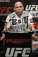 "COLOGNE, GERMANY, JUNE 11, 2009: Wanderlei Silva addresses the media from the podium during the pre-fight press conference for ""UFC 99: The Comeback"" inside the Hyatt Regency Hotel in Cologne, Germany on June 11, 2009."