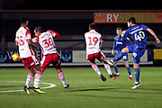 AFC Wimbledon midfielder Anthony Wordsworth (40) scoring goal to make it 2-0 during the EFL Trophy group stage match between AFC Wimbledon and Stevenage at the Cherry Red Records Stadium, Kingston, England on 6 November 2018.