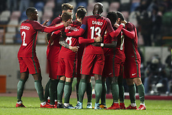 November 14, 2017 - Leiria, Portugal - Portugal players celebrating their goal during the Friendly match  football match between Portugal and USA at Municipal de Leiria Stadium in Leiria on November 14, 2017. (Credit Image: © Carlos Costa/NurPhoto via ZUMA Press)