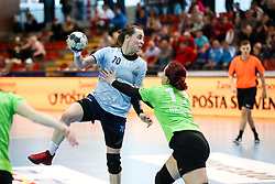 Eleonora Kodele of ZRK Z Dezele vs Luna Voncina of RK Ljubljana during handball match between RK Ljubljana and ZRK Z Dezele in Bronze Medal game of Slovenian Women Handball Cup 2017/18, on April 1, 2018 in Park Kodeljevo, Ljubljana, Slovenia. Photo by Matic Klansek Velej / Sportida