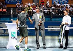 Aljaz Bedene of Slovenia and Borut Pahor, president of Slovenia at trophy ceremony after winning in Final match at Day 10 of ATP Challenger Zavarovalnica Sava Slovenia Open 2019, on August 18, 2019 in Sports centre, Portoroz/Portorose, Slovenia. Photo by Vid Ponikvar / Sportida