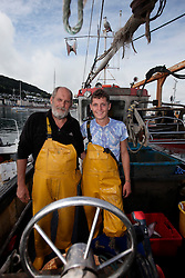 UK ENGLAND DEVON TEIGNMOUTH 10SEP16 - Fishermen Trevor Hall (50) and his son Brendon Hall (19) of Teignmouth land their catch at Teignmouth harbour, Devon, England.<br /> <br /> jre/Photo by Jiri Rezac<br /> <br /> &copy; Jiri Rezac 2016