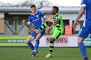 Forest Green Rovers midfielder Drissa Traore (4) takes on North Ferriby United forward Reece Thompson (25) 0-0 during the Vanarama National League match between Forest Green Rovers and North Ferriby United at the New Lawn, Forest Green, United Kingdom on 1 April 2017. Photo by Alan Franklin.