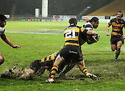 Auckland's Taniela Moa is tackled by Brett Goodin and Ed Jenkins.<br /> Air New Zealand Cup rugby match - Taranaki v Auckland at Yarrows Stadium, New Plymouth, New Zealand. Friday 9 October 2009. Photo: Dave Lintott/PHOTOSPORT