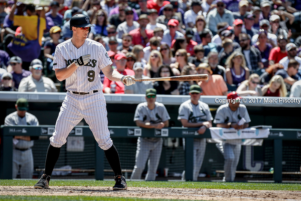 SHOT 5/28/17 1:34:14 PM - The Colorado Rockies DJ LeMahieu #9 steps up to bat against the St. Louis Cardinals  during their regular season MLB game at Coors Field in Denver, Co. The Rockies won the game 8-4. (Photo by Marc Piscotty / © 2017)