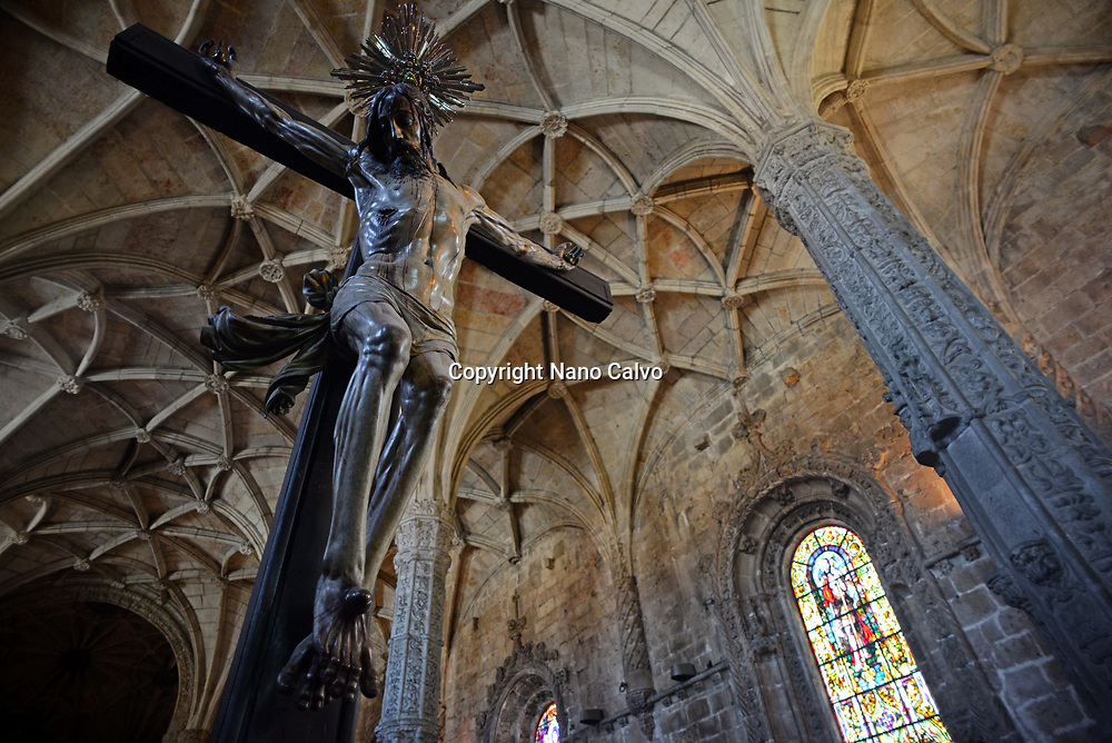 Christ Crucified sculpture in Jeronimos Monastery or Hieronymites Monastery (The Mosteiro dos Jeronimos), a former monastery of the Order of Saint Jerome near the Tagus river in the parish of Belém, in the Lisbon Municipality, Portugal