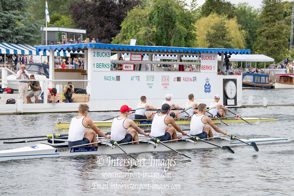 Henley on Thames, England, United Kingdom, 6th July 2019, Henley Royal Regatta, Semi Final Fawley Challenge Cup, Henley Rowing Club A, beating Claires Court School,   Henley Reach, [© Peter SPURRIER/Intersport Image]<br /> <br /> 14:57:02 1919 - 2019, Royal Henley Peace Regatta Centenary,