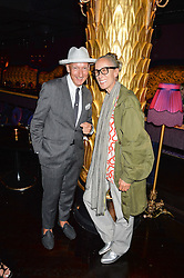 STEPHEN JONES and CARYN FRANKLIN at a party to celebrate Pam Hogg receiving an honorary Doctorate from Glasgow University held at Park Chinois, 17 Berkeley Street, London on 11th July 2016.