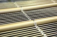 D&uuml;ren. 15.03.17 | BILD- ID 045 |<br /> GKD - Gebr. Kufferath AG. Metallfassade f&uuml;r die Neue Mannheimer Kunsthalle.<br /> Das Unternehmen in D&uuml;ren produziert Fassaden f&uuml;r die Architektur aus Metall. Ein gewebtes Metallgitter wird von Aussen an die Fassade montiert. <br /> Kunsthallendirektorin Dr. Ulrike Lorenz besucht das Unternehmen in D&uuml;ren und freut sich &uuml;ber die technische Umsetzung mit einer speziell goldenen Pigmentierung der Edelstahlstreben.<br /> Bild: Markus Prosswitz 15MAR17 / masterpress (Bild ist honorarpflichtig - No Model Release!)