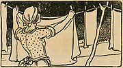 Woman pegging out the washing. Engraving, 1900.
