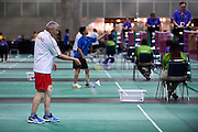 SO Poland athlete Michal Krcil in action while badminton competition during fifth day of the Special Olympics World Games Los Angeles 2015 on July 29, 2015 at Los Angeles Convention Centre in Los Angeles, USA.<br /> <br /> USA, Los Angeles, July 29, 2015<br /> <br /> Picture also available in RAW (NEF) or TIFF format on special request.<br /> <br /> For editorial use only. Any commercial or promotional use requires permission.<br /> <br /> Adam Nurkiewicz declares that he has no rights to the image of people at the photographs of his authorship.<br /> <br /> Mandatory credit:<br /> Photo by &copy; Adam Nurkiewicz / Mediasport