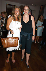 Left to right, CLARE INGLE-FINCH and VICTORIA AITKEN at a party to launch her atest collection held at Morton's, Berkeley Square, Lonon W1 on 11th September 2006.<br />
