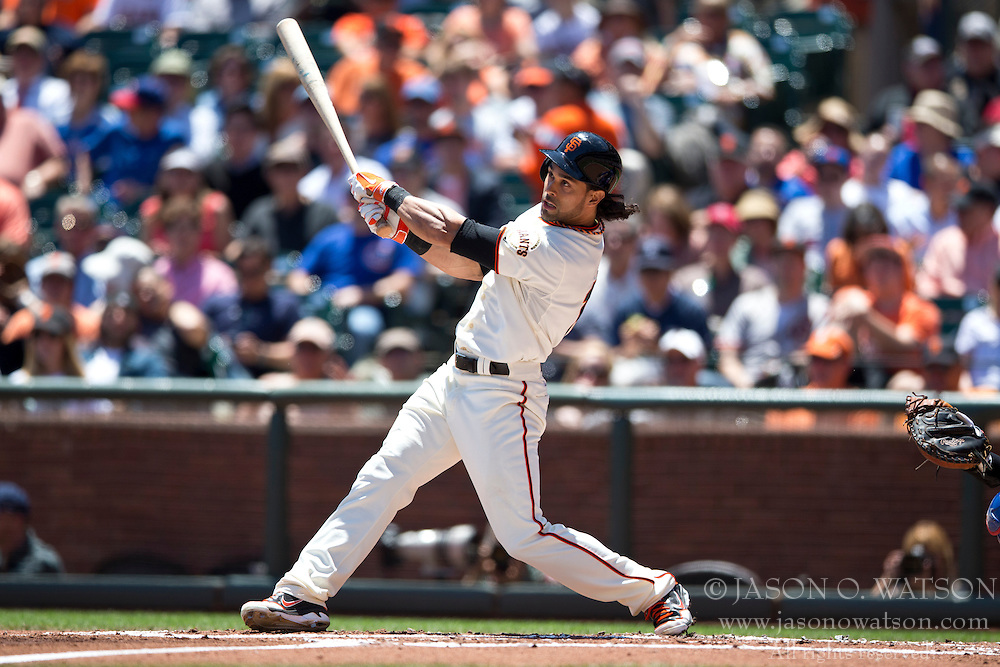 SAN FRANCISCO, CA - MAY 28:  Angel Pagan #16 of the San Francisco Giants at bat against the Chicago Cubs during the first inning at AT&T Park on May 28, 2014 in San Francisco, California.  The San Francisco Giants defeated the Chicago Cubs 5-0.  (Photo by Jason O. Watson/Getty Images) *** Local Caption *** Angel Pagan