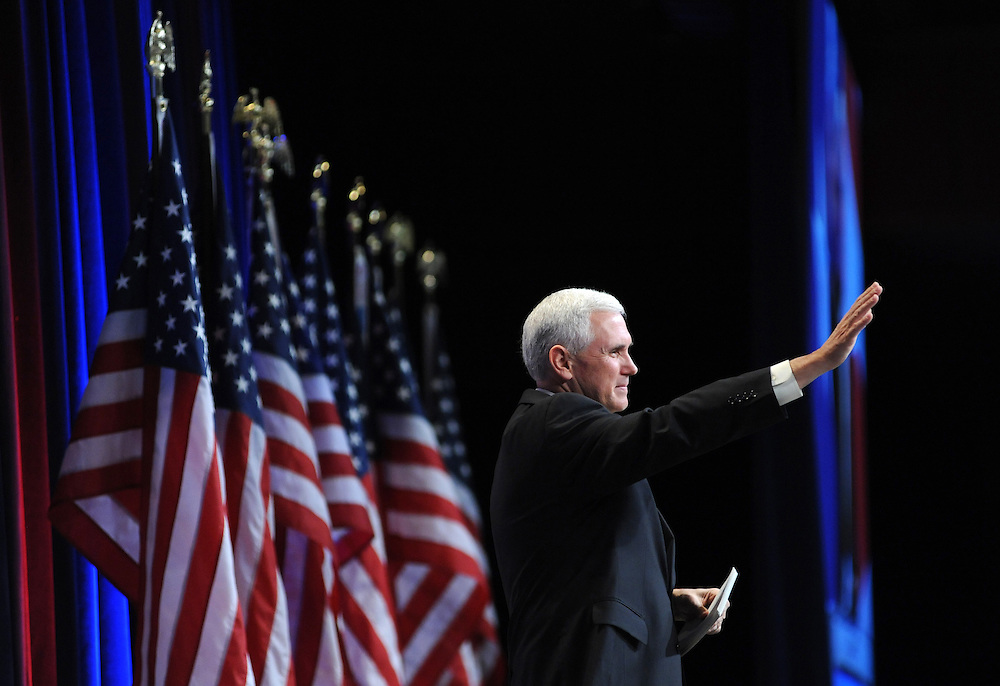 Rep. Mike Pence (R-Ind.) waves to the crowd at speaking during the 37th Annual Conservative Political Action Conference held at Marriott Wardman Park Hotel in Washington DC on Friday, Feb. 19, 2009. (Amanda Lucidon)