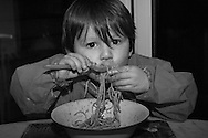 Joe eats a plate of spaghetti during dinner at home in Berkhamsted, England  Tuesday, Feb. 16, 2016 (Elizabeth Dalziel) #thesecretlifeofmothers #bringinguptheboys #dailylife