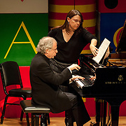 May 5, 2012 - New York, NY : Pianist András Schiff, seated, performs Claude Debussy's 'Children's Corner (1908)' at Zankel Hall on Saturday evening as part of a program that included the Salzburg Marionette Theater (not pictured -- they did not perform during this piece). CREDIT: Karsten Moran for The New York Times
