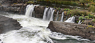 Side view of Hog's Back Falls along the Rideau River in Ottawa, Ontario, Canada.  Photographed from Hog's Back Park.