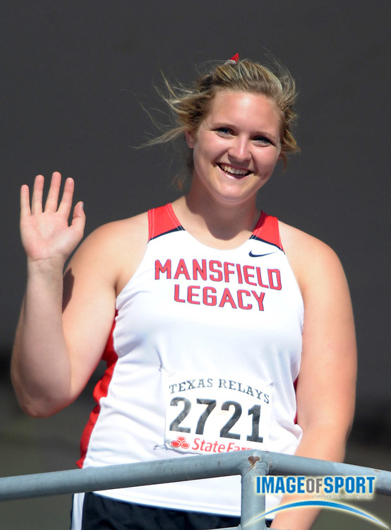 Mar 30, 2012; Austin, TX, USA; Shelbi Vaughan of Mansfield Legacy waves to the crowd after setting a national high school record in the girls discus of 191-6 (58.36m) in the 85th Clyde Littlefield Texas Relays at Mike A. Myers Stadium.