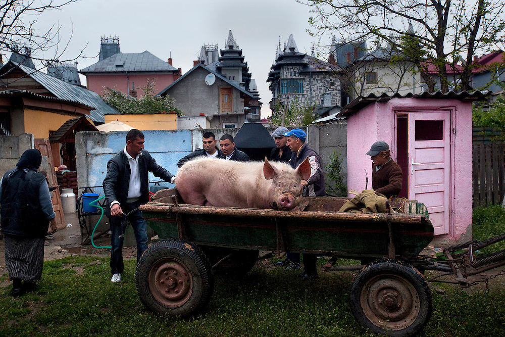 Men prepare a gift for the godparents during the Petrache baptism in Buzescu, a small town in Romania.