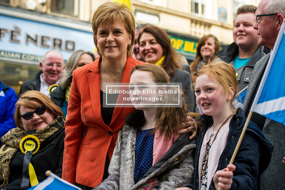 Pictured: Fearne Boulton (9) and Cerys Leven (10) enjoyed meeting the First Minister<br /> <br /> Nicola Sturgeon headed to Stirling today and joined locl SNP MSP Bruce Crawford and SNP council candidates and activists as she warned that the Tories will use an election victory to betray pensioners yet again.<br /> Ger Harley | EEm 25 April 2017