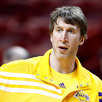 19 January 2012: Los Angeles Lakers power forward Troy Murphy (14) warms up prior to the Miami Heat 98-87 victory over the Los Angeles Lakers at the AmericanAirlines Arena, Miami, Florida, USA.