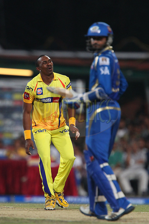 Dwayne Bravo reacts after bowling during the Final of the Pepsi Indian Premier League between The Chennai Superkings and the Mumbai Indians  held at the Eden Gardens Stadium in Kolkata on the 26th May 2013..Photo by Ron Gaunt-IPL-SPORTZPICS      ..Use of this image is subject to the terms and conditions as outlined by the BCCI. These terms can be found by following this link:..http://www.sportzpics.co.za/image/I0000SoRagM2cIEc
