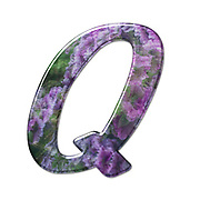 The Capitol Letter Q Part of a set of letters, Numbers and symbols of 3D Alphabet made with a floral image on white background