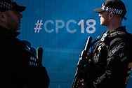 Birmingham, UK. 29th September 2018. Tight security measures are in place ahead of the Conservative Party conference due to be held in Birmingham. Scores of armed police surround the International Convention Centre where the conference is to be held and the adjoining Hyatt Regency Hotel where delegates are expected to arrive later today and tomorrow morning. // Lee Thomas, Tel. 07784142973. Email: leepthomas@gmail.com  www.leept.co.uk (0000635435)