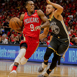 May 4, 2018; New Orleans, LA, USA; New Orleans Pelicans guard Rajon Rondo (9) drives past Golden State Warriors guard Stephen Curry (30) during the third quarter in game three of the second round of the 2018 NBA Playoffs at Smoothie King Center. The Pelicans defeated the Warriors 119-100.  Mandatory Credit: Derick E. Hingle-USA TODAY Sports