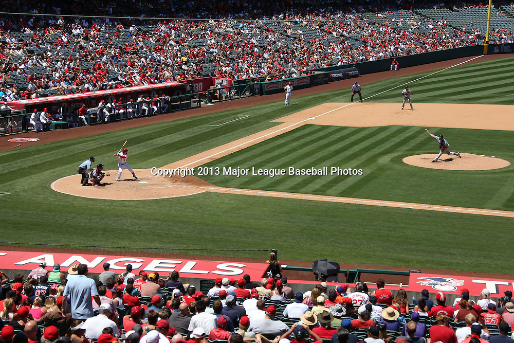 ANAHEIM, CA - JULY 24:  General view of the infield during the Los Angeles Angels of Anaheim game against the Minnesota Twins on Wednesday, July 24, 2013 at Angel Stadium in Anaheim, California. The Angels won the game in a 1-0 shutout. (Photo by Paul Spinelli/MLB Photos via Getty Images)