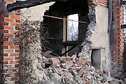 collapsed wall in a house ruin